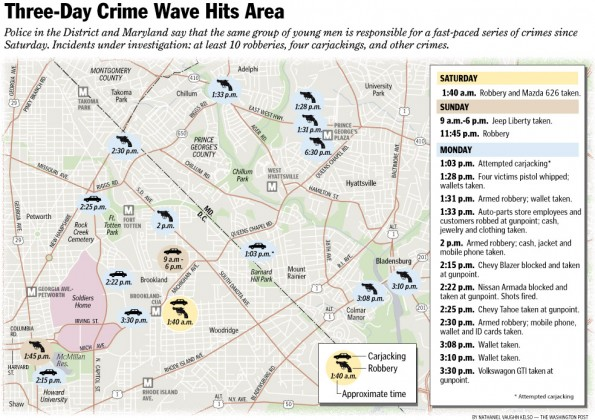 Three-day crime wave hits area